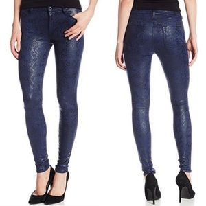 7 For All Mankind Navy Snake Coated Skinny Jeans